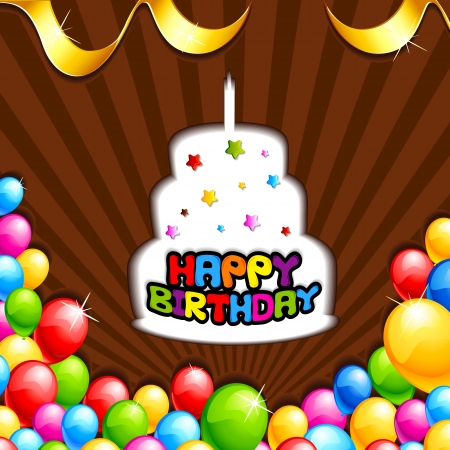Happy Birthday background with Cake and Balloon Vector