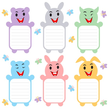 Cute Animal Label Sticker Vector