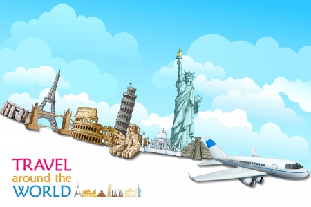 international landmark: vector illustration of historical monument with airplane
