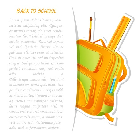 schoolbag: School Bag with Pencil and Ruler