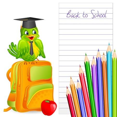 schoolbag: Graduate Bird Illustration