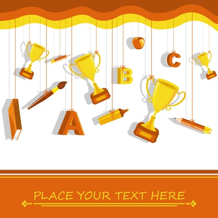 Gold Trophy with School Stationery Vector