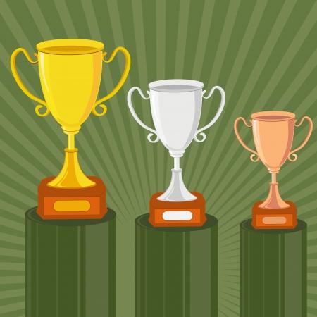 Gold, Silber und Bronze Trophy