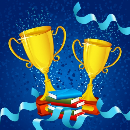 best book: Gold Trophy with Ribbon