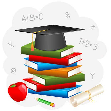 Mortar Board on Book with Degree Stock Vector - 18212664