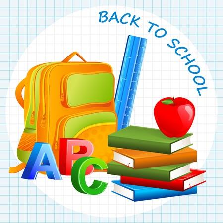 school bag: Prenota con sacchetto di scuola Vettoriali