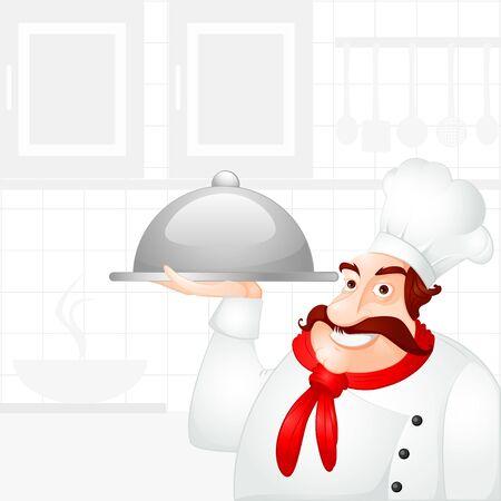 Chef holding Cloche Stock Vector - 18213300