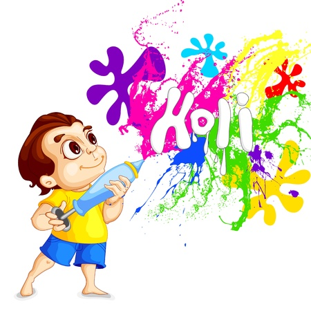 fun festival: Kids playing Holi Festival Illustration