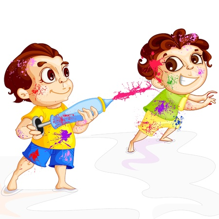 festival occasion: Kids playing Holi Festival Illustration