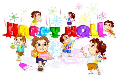 joyous festivals: Kids playing Holi Festival Illustration