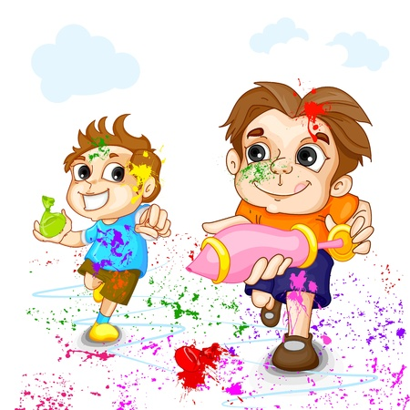 Kids playing Holi Festival photo