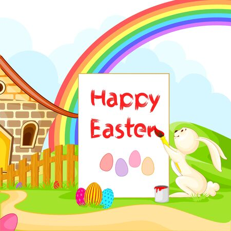 Bunny painting Happy Easter Stock Vector - 18290709