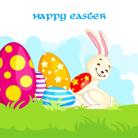 Easter Bunny with Colorful Egg Stock Vector - 18290695