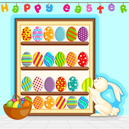 Easter Bunny decorating painted egg Stock Vector - 18290699