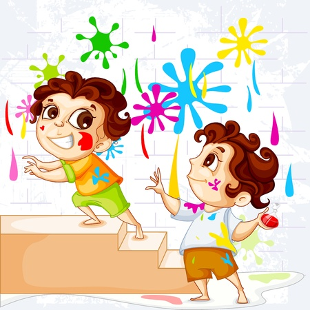 happy holi: Kids playing Holi Festival Illustration