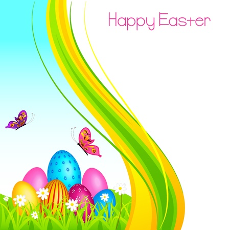 Colorful Easter Egg in garden Vector