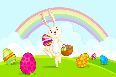 Easter bunny with basket colorful egg Vector