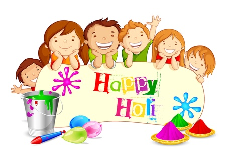 Kids wishing Holi Festival Vector