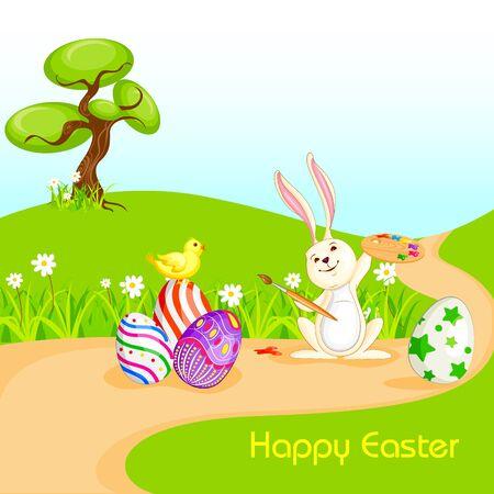 arbol de pascua: Conejito de la pintura Huevo de Pascua feliz Vectores