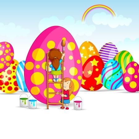 Colorful Easter Egg in garden Stock Vector - 18414126