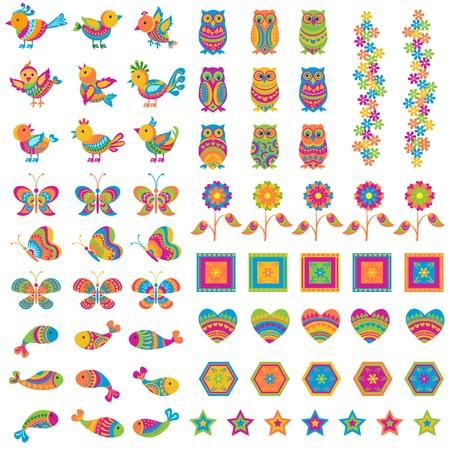 rúdon ülés: Színes madár és pillangó Illusztráció