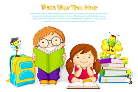 abeja caricatura: Los niños que estudian