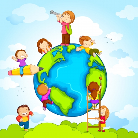 Kids around Globe Vector