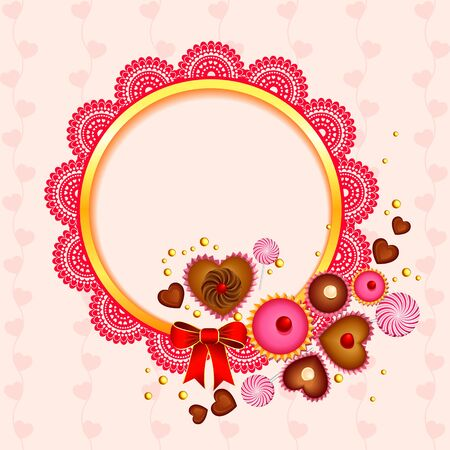 Victorian lace frame with love candy Vector