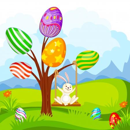 playfull: vector illustration of Easter bunny swinging on egg tree Illustration