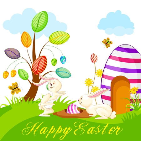 illustration of bunny hidding colorful Easter egg Stock Vector - 18810644