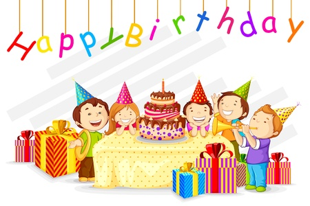 kids birthday party: vector illustration of kids celebrating Birthday with cake