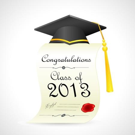 diplom studen: Mortar Board �ber die Graduierung Zertifikat Illustration
