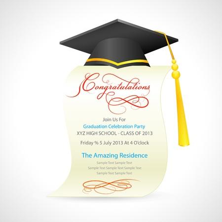 graduacion de universidad: Birrete en el Certificado de graduación Vectores