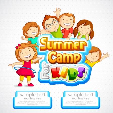 campamento de verano: Campamento de verano para ni�os Vectores