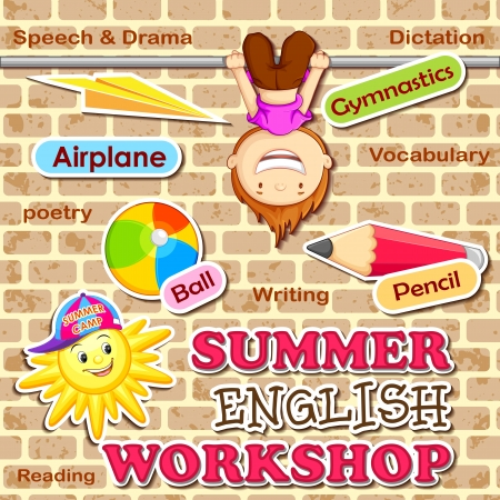cartoon summer: Summer English Workshop
