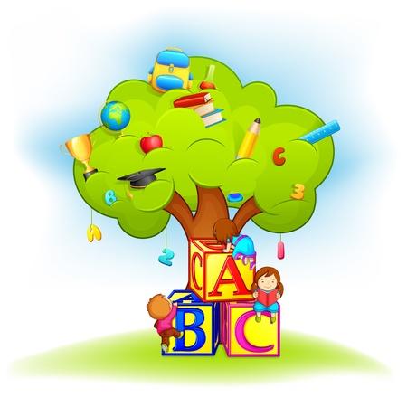 niño preescolar: Niños escalada Wisdom Tree Vectores