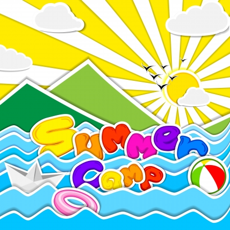 kids playing water: Summer Camp Poster Illustration