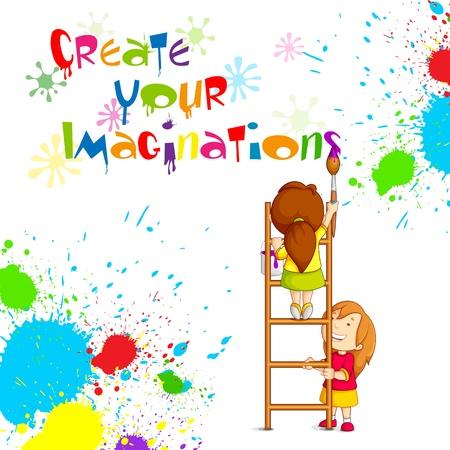 enfants peinture: Enfants peignant l'affiche de la concurrence Illustration