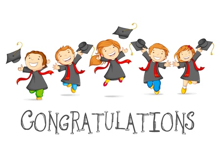 birrete de graduacion: Graduados Felices Vectores
