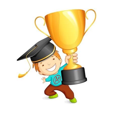 školní děti: Absolvent holding Trophy Ilustrace