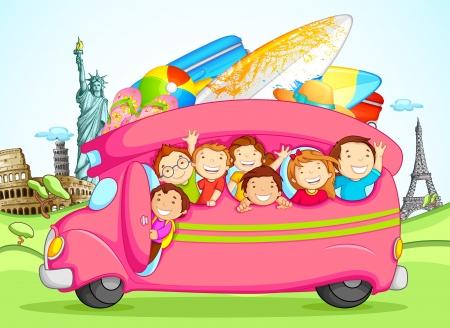 Dzieci korzystajÄ…cych szkolnej wycieczki Ilustracje wektorowe