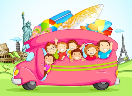 Kids enjoying School Trip Vector