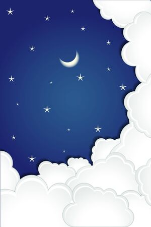 Clouds in Sky with Moon and Star Vector