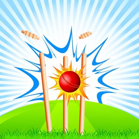 hitting: Cricket palla che colpisce Ceppi Vettoriali