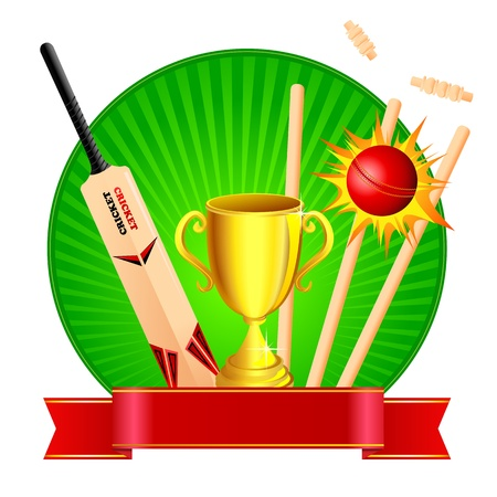 cricket: Cricket Kit with Trophy Illustration