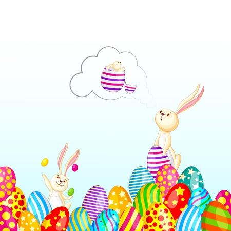 Easter Bunny with Colorful Egg Stock Vector - 19001911