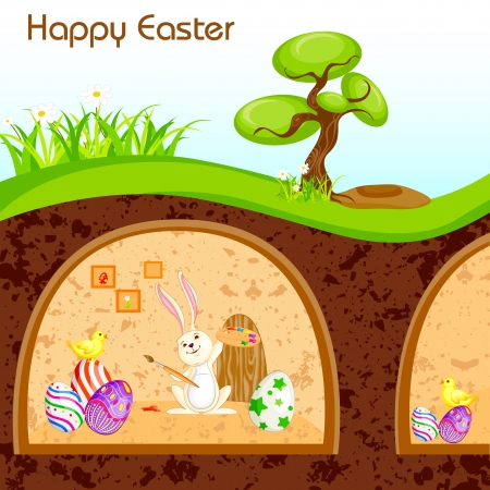 Bunny painting Happy Easter in Burrow Illustration