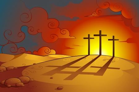sacrificio: Jesús Cristos Crucifixión Vectores