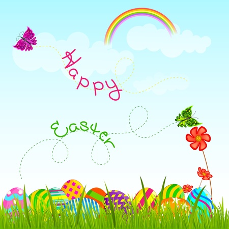 Colorful Easter Egg in garden
