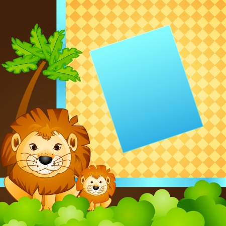 Baby and Mother Lion in Jungle